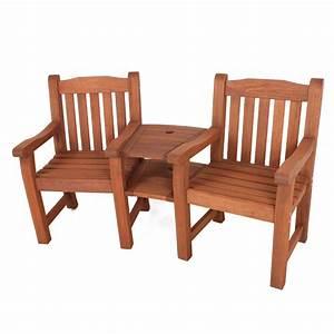Gartenmöbel 2 Personen : hartholz bank zweisitzer kombination stuhl gartenbank 2 ~ Michelbontemps.com Haus und Dekorationen