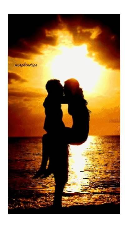 Romantic Gifs Kiss Sunset Google Pantai Animation