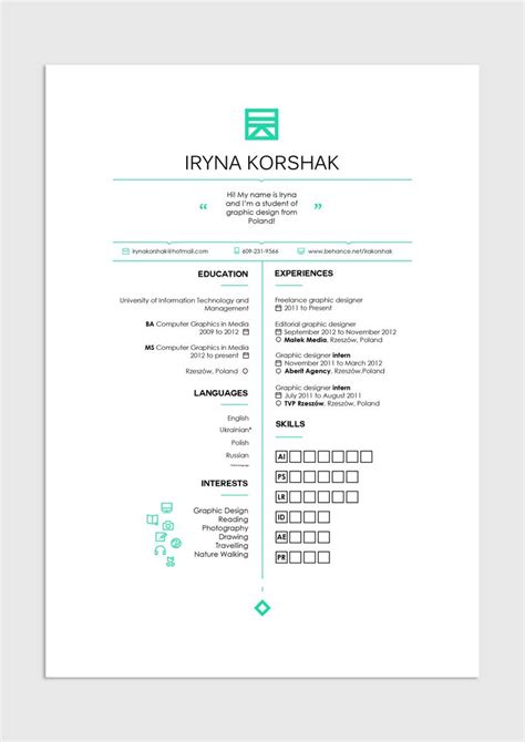 Graphic Design Resume Layout by 10 Best Images About Cv On Simple Resume