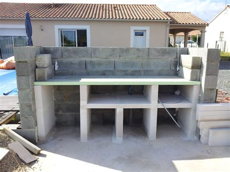 plan de travail exterieur en beton pour cuisine exterieure
