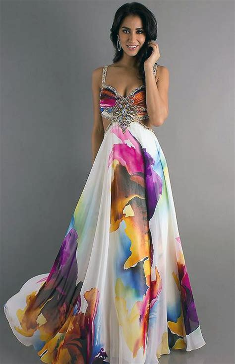 Printed Prom Dress Models   Inofashionstyle.com