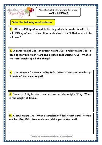 grade  maths worksheets  word problems  grams