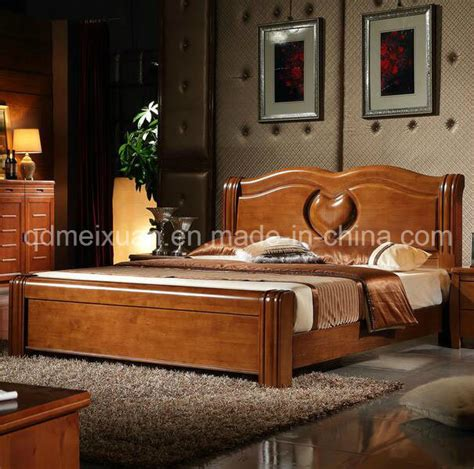 china solid wooden bed modern double beds