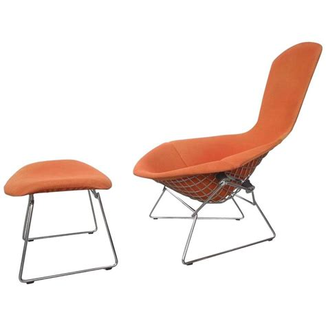 orange bertoia for knoll bird chair and ottoman 7 at 1stdibs