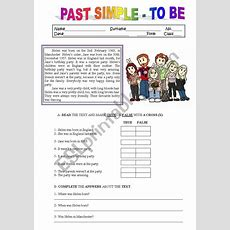 Reading Comprehension Past Simple  To Be  Esl Worksheet
