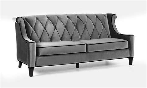 barrister sofa gray velvet with black piping