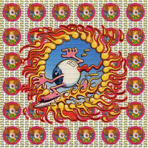 flying eyeballs perforated sheet blotter art psychedelic