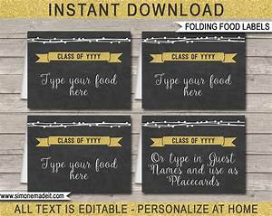 graduation party food labels place cards editable With food labels for party template