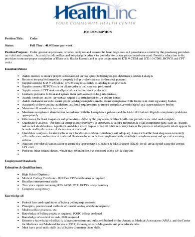 medical billing coding job description emr job description