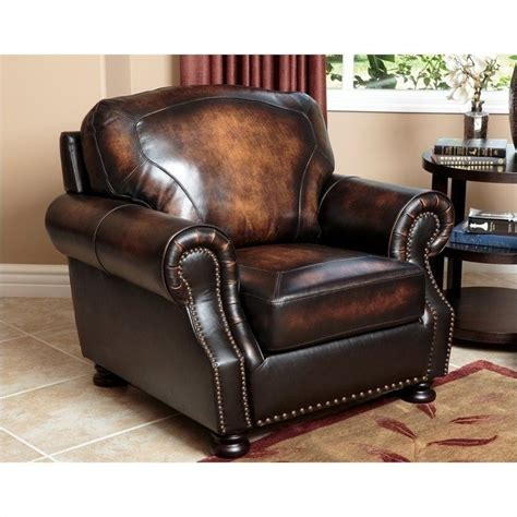 abbyson living tannington leather arm chair in brown sk
