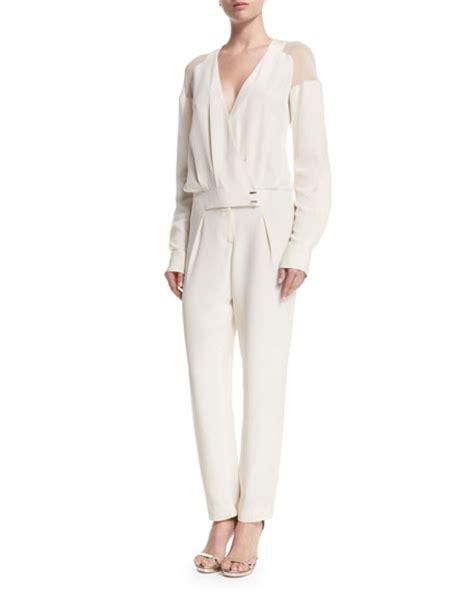 sleeve white jumpsuit prabal gurung sleeve sheer shoulder jumpsuit white