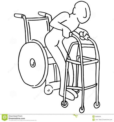 fauteuil roulant au marcheur image libre de droits image