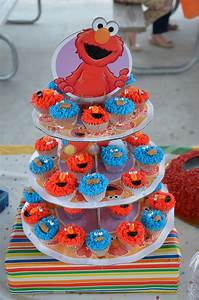Elmo And Cookie Monster Mini Cupcakes For 1Rst Birthday