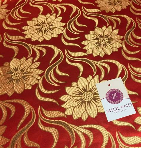 Red And Gold Floral Metallic Jacquard Brocade Fabric 58