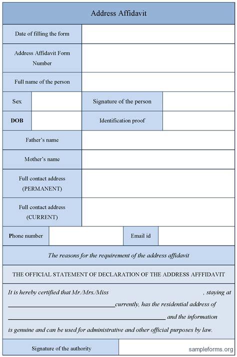 address affidavit form sle forms