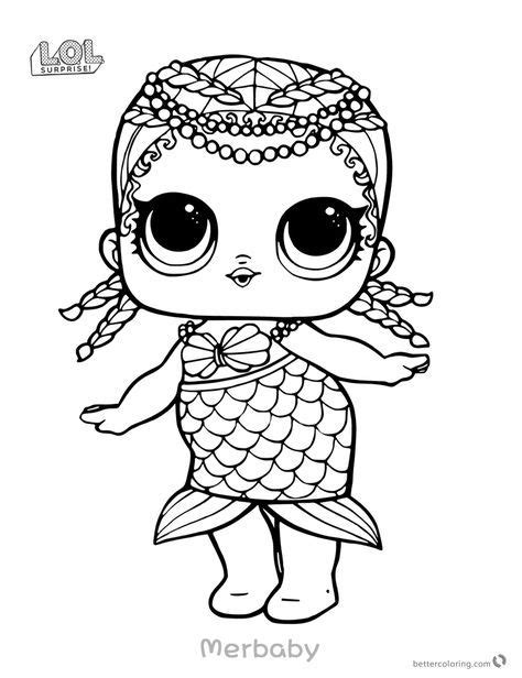 mermaid lol surprise doll coloring pages merbaby printable yayas birthday cute coloring