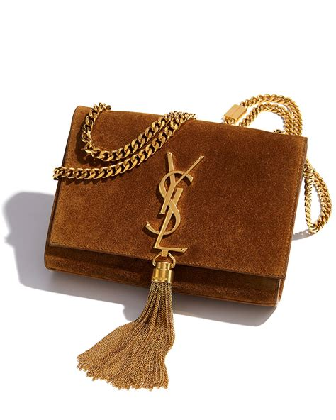 saint laurent monogramme small suede tassel cross body bag  light brown brown lyst