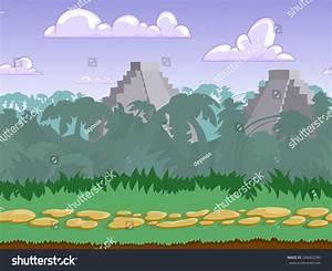 Seamless Cartoon Jungle Landscape, Vector Unending ...