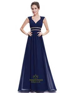 navy blue bridesmaid navy blue chiffon bridesmaid dresses with cap sleeve and open back val dresses