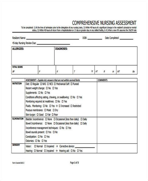 comprehensive form free 21 nursing assessment form exles pdf