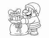 Santa Presents Giving Claus Coloring Coloringcrew sketch template