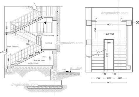 staircase cad drawing   autocad file