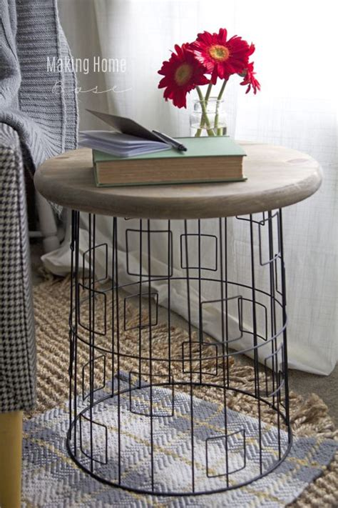 accent table with baskets diy accent table from a wire laundry basket diy end