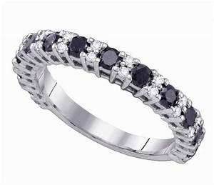 Womens Ladies 10K White Gold 109Ct Black Diamond Wedding
