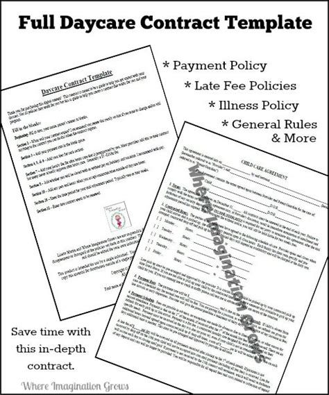 daycare contract template complete daycare handbook contract template where imagination grows