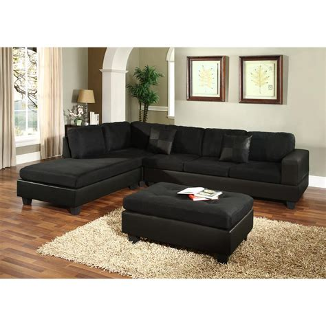 Buchannan Faux Leather Corner Sectional Sofa Black by Black Microfiber Sectional Sofa Microfiber Faux Leather
