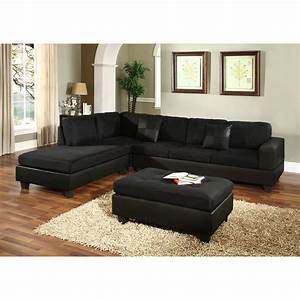 Black microfiber sectional sofa microfiber faux leather for Small spaces sectional sofa black faux leather