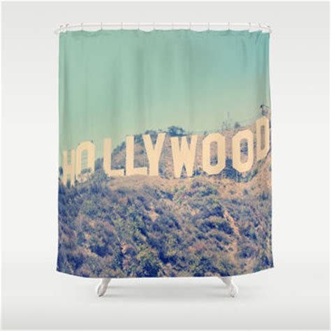 sign shower curtain los angeles from