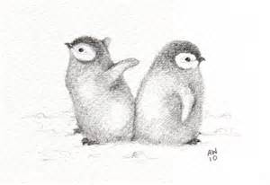 Baby Penguin Pencil Drawings
