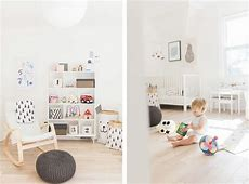 A modern, pastel shared baby and toddler room Happy Grey
