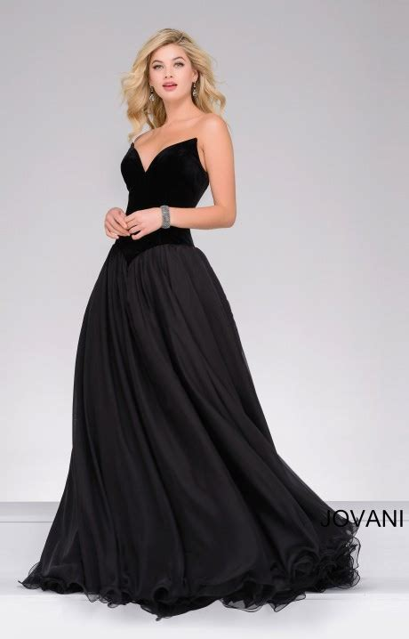 jovani  strapless wing tip velvet ball gown dress