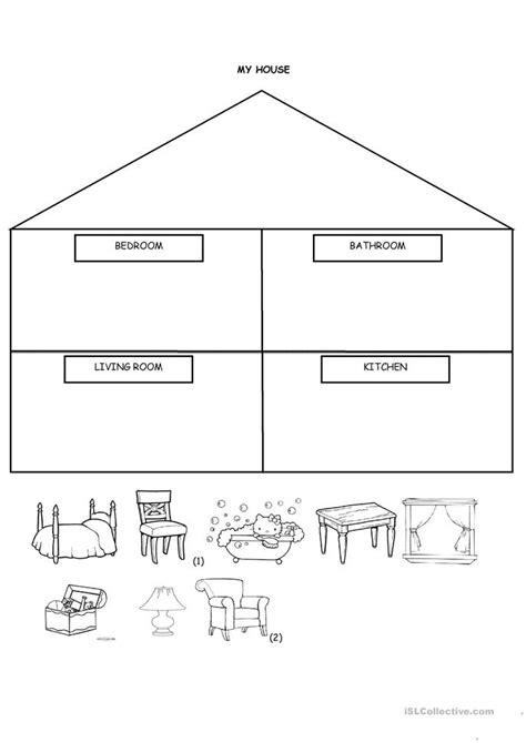 house cut  paste worksheet  esl printable