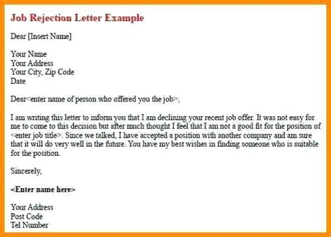 rejection letter sle thank you letter after decline 28 images candidate 8814