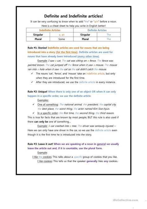 definite  indefinite articles worksheet  esl