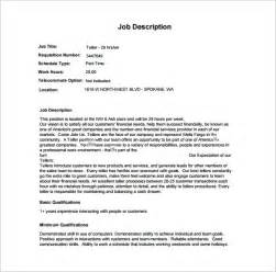 9 bank teller description templates free sle