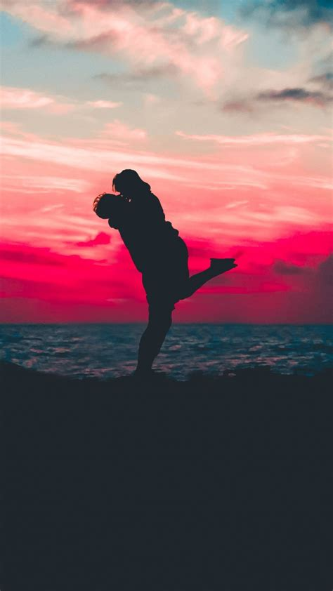 wallpaper couple silhouette lovers romantic sunset
