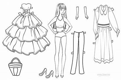Doll Coloring Paper Pages Dolls Printable Template
