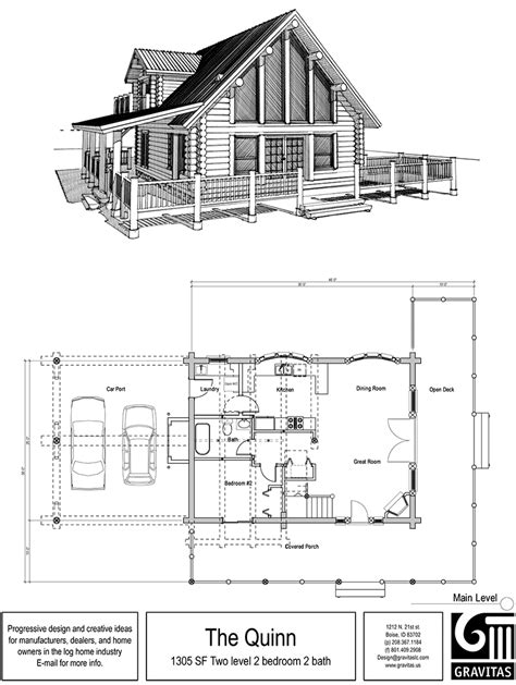 log cabin floor plan with loft and covered porch