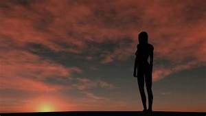 Young Woman Standing Alone In Field. Stock Footage Video ...