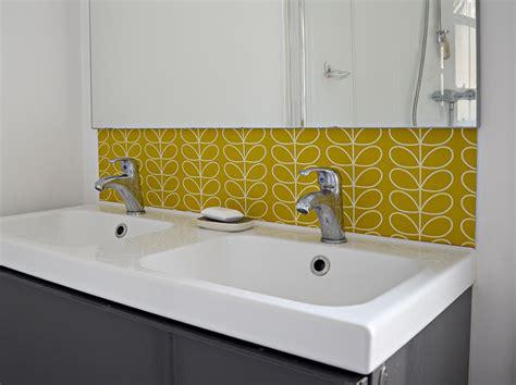Wallpaper Kitchen Backsplash Ideas - diy splashback using wallpaper pillar box blue