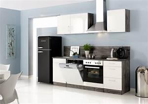 Küche 280 Cm : k chenzeile lissabon k che mit e ger ten breite 280 cm 14 teilig hochglanz wei eiche ~ Markanthonyermac.com Haus und Dekorationen
