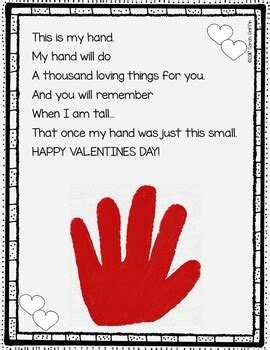 valentines day handprint keepsake poem  kids