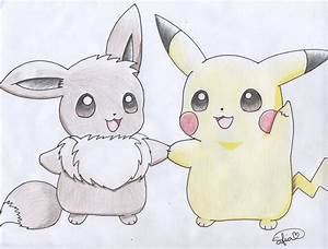 Pikachu and Eevee holding hands by PikachuHolo on DeviantArt