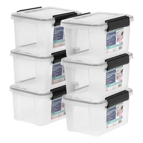 weathertight storage tote iris 6 5 qt weathertight storage tote in clear 6 pack 3371