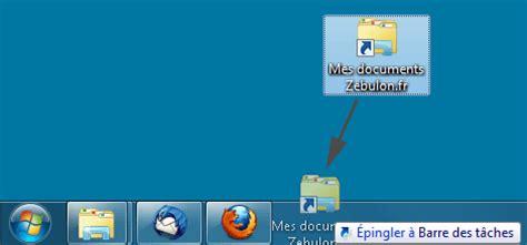 supprimer raccourci bureau épingler un dossier à la barre des tâches de windows 7