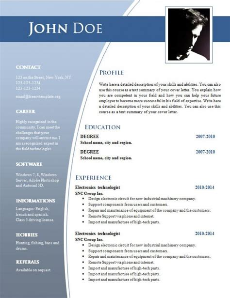 Exle Of A Well Written Cv by Cv Templates Free Word Document Shatterlion Info